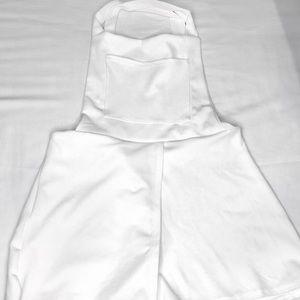 white criss cross overalls/romper